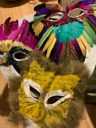 Feathery Masks Mardi Gras Masquerade masks set of 3