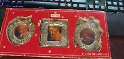 Vintage Burnes Set Of 3 Photo Ornaments In Box Nos Silver Colored