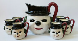 Vintage 7 Pc. Ceramic Frosty The Snowman Christmas Pitcher And Mug Set Signed Rm