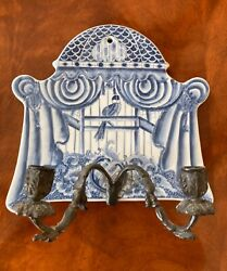 Vintage 2 Arm Wall Sconce Bird In Ornate Domed Cage Blue White Porcelain Bronze