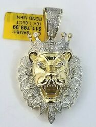 Real Diamond Pendant King Lion Head Mens Crown Charm 10k Yellow Gold Solid Real
