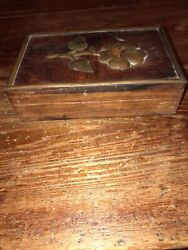 Antique Small Wooden Curio Box With Bronze Trim And Bronze Flower On Lid