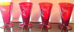 Set Of Four Ruby Red Etched Design Glassware