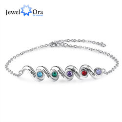 Personalized Women Charms Bracelets Beaded Engraved Names Birthstone Cuff Bangle $10.99
