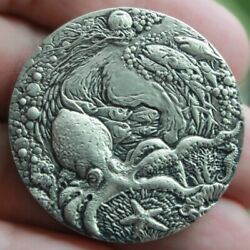 China Shanghai Mint 40mm Silver Medal Make The Ocean Happy Forever Life Medal60g