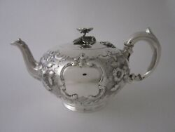 Exeter Antique Victorian Sterling Silver Teapot - 1855 By James And Josiah William