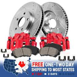 Front Red Brake Calipers Rotors And Pads For 1999 Volkswagen Golf Gti Jetta Glx