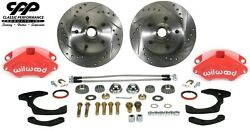 1965-68 Chevy Belair Stock Spindle Red Wilwood Caliper Disc Brake Conversion