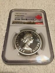 1962 Canada Silver Dollar Ngc Pl 68 Cameo Top Pop Only One Graded