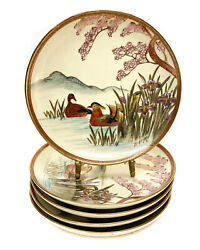 5 Japanese Satsuma Hand Painted Porcelain Bread And Butter Plates. Birds Mountains