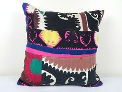 Vintage Large Suzani Patchwork Pillow Cover, Embroidered Home Decor 20 X 20