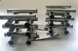Rare C Jere Midcentury Chrome Stacked Rods Bookends Signed