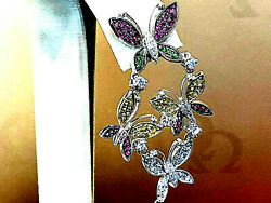 18k.white Gold Butterfly Multi Color Sapphire And Diamond Long Earrings.