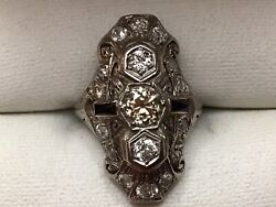 Antique Vintage 17 Diamond Ring With Two Sapphires