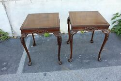 Pair Of Chippendale Leather Top Carved Solid Mahogany Tables C. 1920