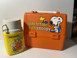 Vtg Collectible Plastic Lunch Box Lunchtime With Snoopythermosking-seeley60s