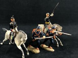 Antique Britains Ltd Lead Hand Painted Civil War 2 Soldiers Mounted And Infantry