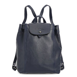 Longchamp Womens Leather Backpack Le Pliage Cuir Navy Blue Ladies School Bag New