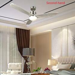 """Secondhand 52"""" Ceiling Fan Light Brushed Nickel Finish W/3 White Walnut Blades"""