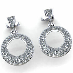 3ct Real Diamond Pave Circle Drop Earrings 14k White Gold For Black Friday Gift