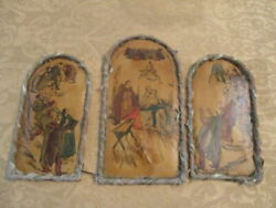 Vintage Very Old And Rare Primitive Christmas Nativity Lithograph Set