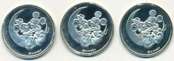 Lot 3 Mickey And Minnie Mouse-on Crescent Moon 999 Silver Rounds-8 Grams Each