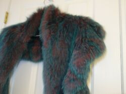 Neiman Marcus Lc Fox Dyed Fur Large Green Womenand039s Cape Wrap