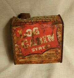 Log Cabin Tin Blacksmith Advertising Vintage Maple Syrup Can - Rough Condtion