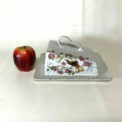 Unger And Schilde Porcelain Cheese Butter Dome Dish Plate W Apple Blossom Bird