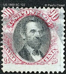 Us Sc 122 90andcent Lincoln Used No Gum 1869 Clear G Grill Handstamped F/vf