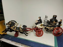 Antique Cast Iron The Mississippi 1869 Horse Drawn Fire Engine Vintage