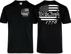 Patriotic T Shirt We The People 1776 Distressed USA Flag Col Black