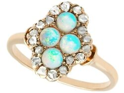 Antique 0.22ct Opal And 0.30ct Diamond 14k Yellow Gold Dress Ring