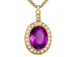 6.56 Ct Amethyst And Pearl 15k Yellow Gold Pendant Antique Circa 1890