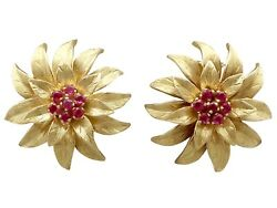 Vintage 0.48ct Ruby And 18ct Yellow Gold Earrings