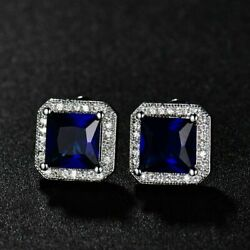 3 Ct Cushion Cut Sapphire Halo Earring 14k White Gold Plated 825 Sterling Silver