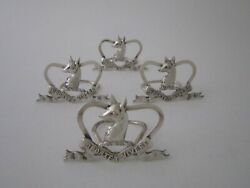 Set Of 4 Scottish Sterling Silver Menu/place Card Holders - 1897 By Brook And Sons