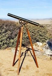 Bausch And Lomb Harbormaster Brass Telescope With Tripod And Lens Cover