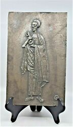 Large Bronze Silver Plate Plaque Sculpture Wall St Peter By Marcello Mascherini