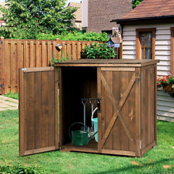 2.5 X 2 Ft Outdoor Wooden Storage Shed Cabinet With Double Doors For Garden Yard