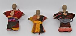 3 Christmas Ornaments Pottery Clay Angels Hand Woven Navajo Rug Textile Clothes