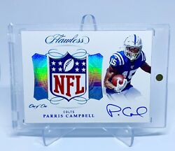 Parris Campbell Auto Nfl Shield Logo Patch Rc 1/1 2019 Panini Flawless 1 Of 1🔥