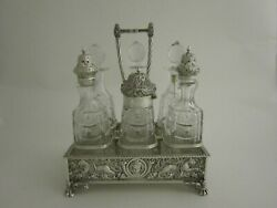 Antique Sterling Silver And Bottles Cruet Stand - 1892 By John Newton Mappin