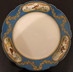 Imperial Russian Porcelain Dinner Plate From The Alexandrinsky Turquoise Servic