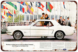 1964 Ford Mustang World's Fair Vintage Look Reproduction Metal Sign 8 X 12