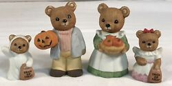 Vtg Halloween Bears Home Interiors Homco 4 Pieces 5209 Exc Fast Ship