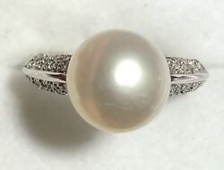 South Sea Pearl And Diamond Ring 14k White Gold 10.50mm