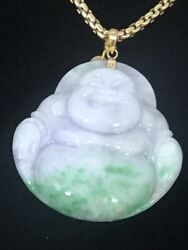 Green And Lavender Buddha Jade Pendant 14k Y/g. Grade A 60mmx53mm