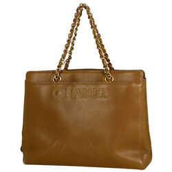 Logo Chain Hand Bag Shoulder Bag Hand Bag Leather Brown Women