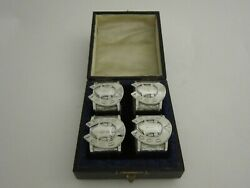 Set Of 4 Antique Sterling Silver Napkin Rings - 1887 By Rockford And Hickson